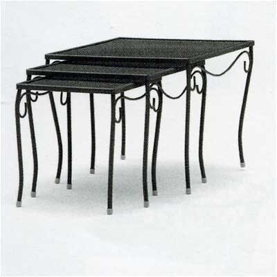 Mesh Top Occasional Nest of 3 Side Table Finish: Hammered Pewter