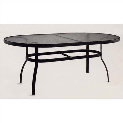 Deluxe Obscure Glass  Dining Table Finish: Textured Black, Umbrella Hole?: Yes
