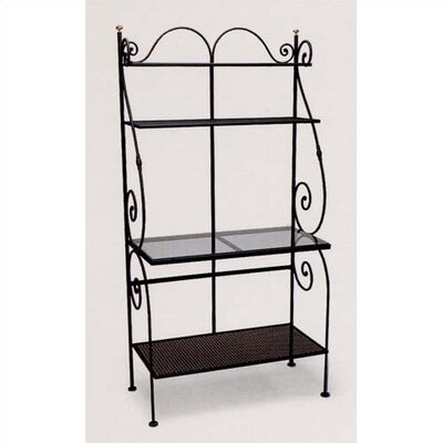 Premium Bakers Rack w/ One Clear Glass Shelf Finish: Textured Cypress