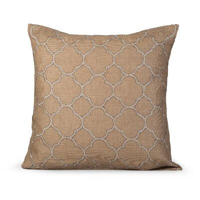 Intricate Burlap Throw Pillow Color: Natural