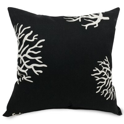 Coral Extra Throw Pillow Fabric: Black