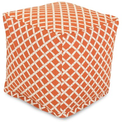 Bamboo Small Cube Ottoman Fabric: Burnt Orange
