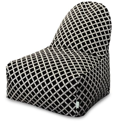 Ayer Geometric Pattern Bean Bag Lounger Upholstery: Black