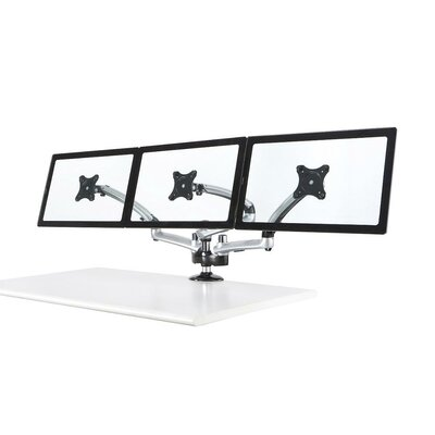 Spring Arm Height Adjustable 3 Screen Desk Mount Finish: Silver, Base Type: Grommet