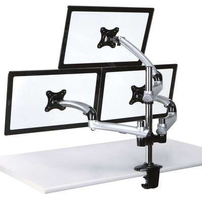 Spring Arm Height Adjustable 3 Screen Desk Mount Base Type: Clamp, Finish: Silver