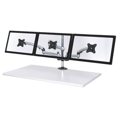 Spring Arm Height Adjustable 3 Screen Desk Mount Finish: Silver, Base Type: Grommet
