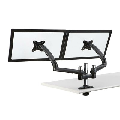 Expandable Spring Arm Height Adjustable 2 Screen Desk Mount Finish: Dark Gray, Base Type: Grommet