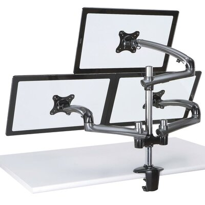 Spring Arm Height Adjustable 3 Screen Desk Mount Finish: Dark Gray, Base Type: Clamp