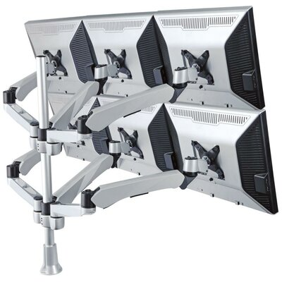 Height Adjustable 6 Screen Desk Mount Base Type: Clamp