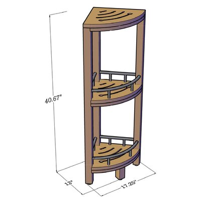 Teak and Stainless Steel Corner 3 Tier Stand