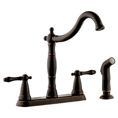 Oakmont Double Handle Kitchen Faucet with Side Sprayer Finish: Oil Rubbed Bronze