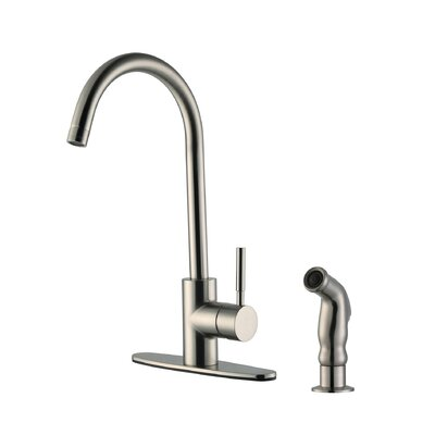 Springport Single Handle Single Hole Kitchen Faucet with Side Spray Finish: Satin Nickel