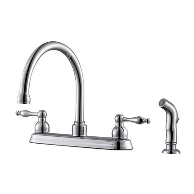 Saratoga Double Handle Centerset Kitchen Faucet with Side Spray Finish: Polished Chrome