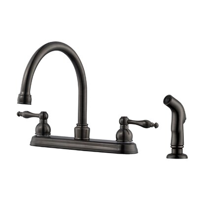 Saratoga Double Handle Centerset Kitchen Faucet with Side Spray Finish: Brushed Bronze