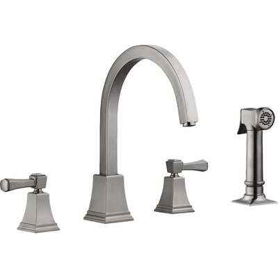 Torino Double Handle Kitchen Faucet with Side Spray Finish: Satin Nickel