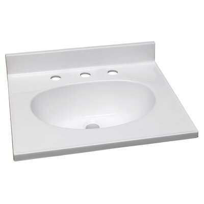 White 37 Single Bathroom Vanity Top Faucet Mount: 8 Widespread