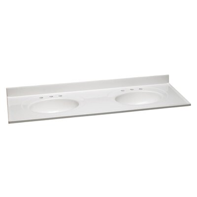 61 Bathroom Vanity Top Top Finish: White, Bowl Configuration: Double, Faucet Mount: 8 Widespread
