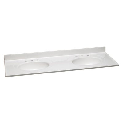 61 Bathroom Vanity Top Bowl Configuration: Single, Top Finish: Solid White, Faucet Mount: 8 Widespread