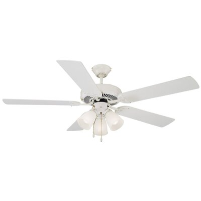 52 Millbridge 5-Blade Ceiling Fan Finish: White with Bleached Oaker White Blade