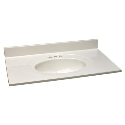 37 Single Bathroom Vanity Top Top Finish: White on White