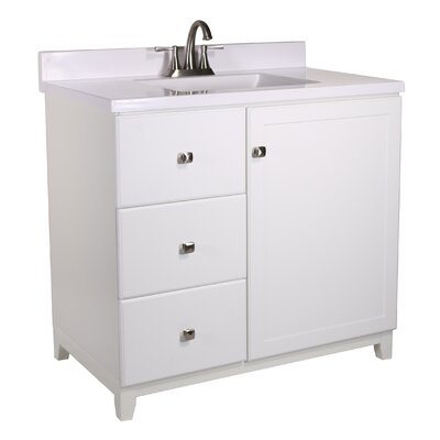 Rosalynn 1-Door 37 Single Bathroom Vanity Base Finish: White