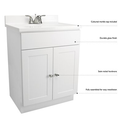 18 x 16 Single Door Vanity Combo Finish: White