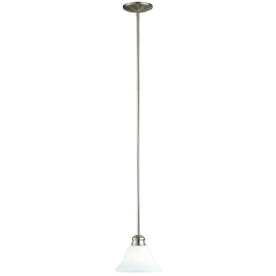 Bristol 1-Light Mini Pendant Finish/Glass Finish: Satin Nickel / Alabaster