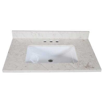 Quartz Single Bathroom Vanity Top Size: 9 H x 37 W x 22 D