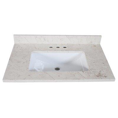 Quartz Single Bathroom Vanity Top Size: 9 H x 31 W x 22 D