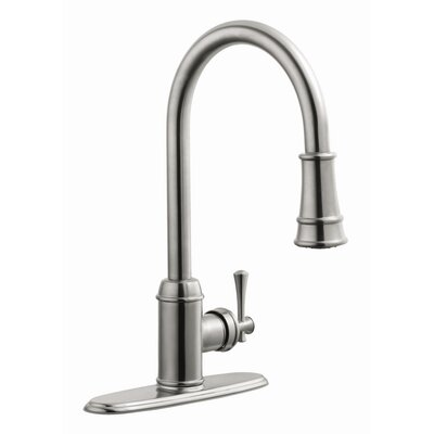 Ironwood Single Handle Kitchen Faucet with Pullout Sprayer Finish: Satin Nickel
