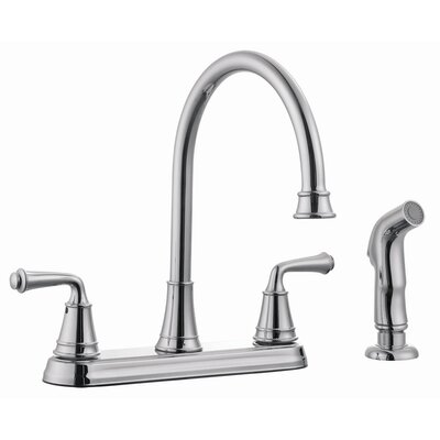 Eden Double Handle Kitchen Faucet with Side Spray Finish: Polished Chrome