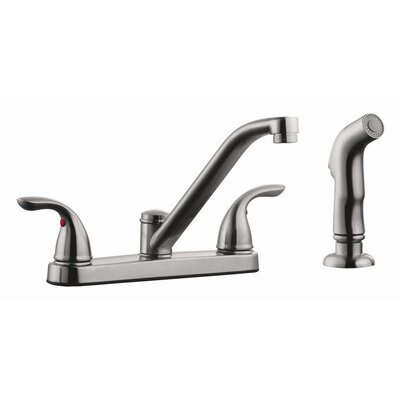 Ashland Double Handle Low Arch Kitchen Faucet with Sprayer Finish: Satin Nickel