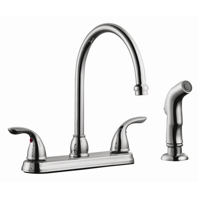 Ashland Double Handle High Arch Kitchen Faucet with Sprayer Finish: Polished Chrome