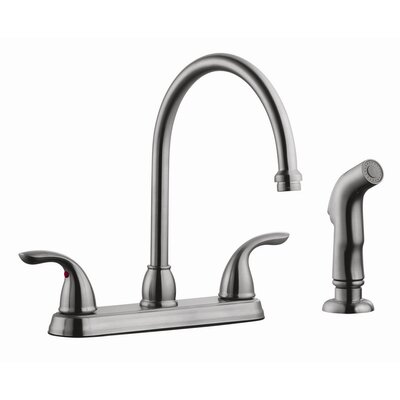 Ashland Double Handle High Arch Kitchen Faucet with Sprayer Finish: Satin Nickel