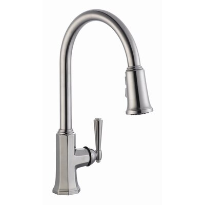 Barcelona Single Handle Kitchen Faucet with Pullout Sprayer Finish: Satin Nickel