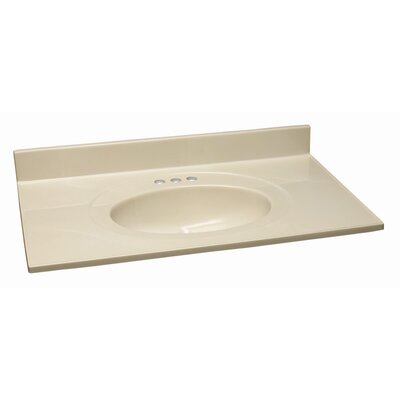 25 Single Bathroom Vanity Top Top Finish: White on Bone