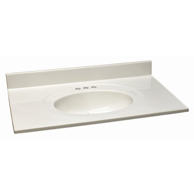 Cultured 19  Single Bathroom Vanity Top Top Finish: White on White