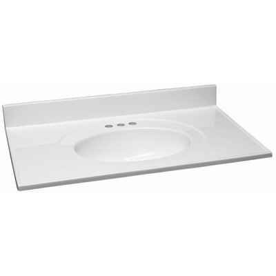 37 Single Bathroom Vanity Top Top Finish: Solid White