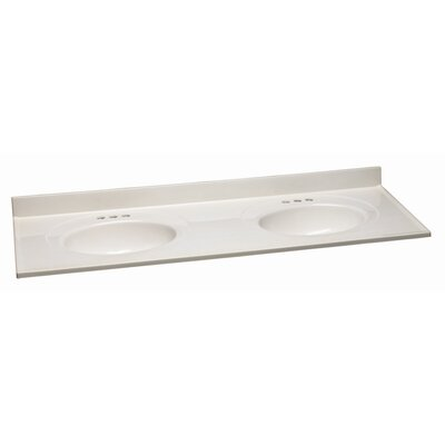 61 Double Bathroom Vanity Top Material: Cultured Marble, Top Finish: White on White