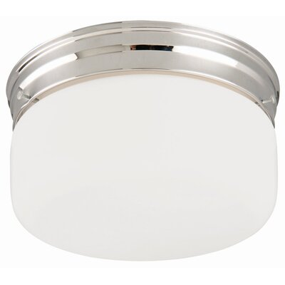 2-Light  Flush Mount with White Opal Glass