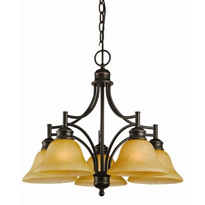 Bristol 5-Light Shaded Chandelier Finish: Oil Rubbed Bronze, Glass: Tea Speckled