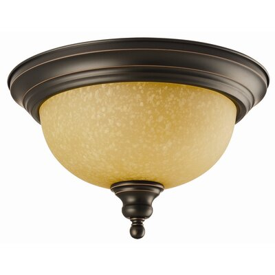 Bristol 2-Light Flush Mount Finish: Oil Rubbed Bronze, Glass: Tea Speckled