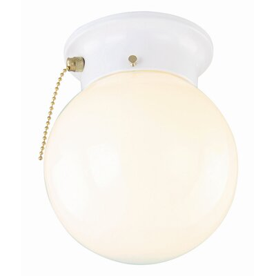 Benefield 1-Light  Flush Mount Shade Color: White, Size: 8.5 H x 7 W x 7 D