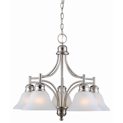 Bristol 5-Light Shaded Chandelier Finish: Satin Nickel, Glass: Alabaster