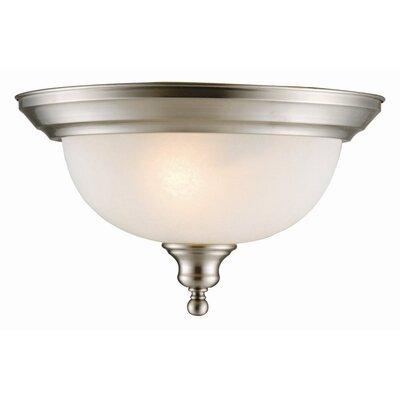 Bristol 2-Light Flush Mount Finish: Satin Nickel, Glass: Alabaster