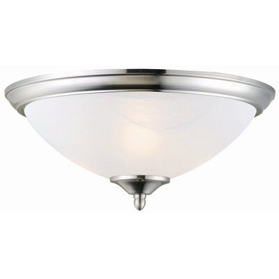 Everette 2-Light Flush Mount Finish: Satin Nickel, Glass: Alabaster