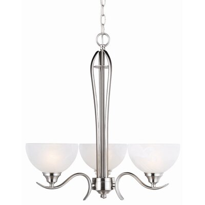 Trevie 3-Light Shaded Chandelier Finish: Satin Nickel, Glass: Alabaster