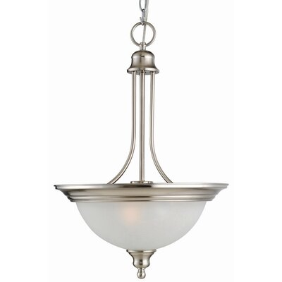 Bristol 2-Light Inverted Pendant Finish/Glass Color: Satin Nickel / Alabaster