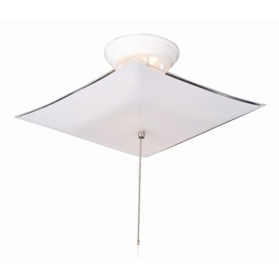 2-Light Semi Flush Mount with Frosted White Lens