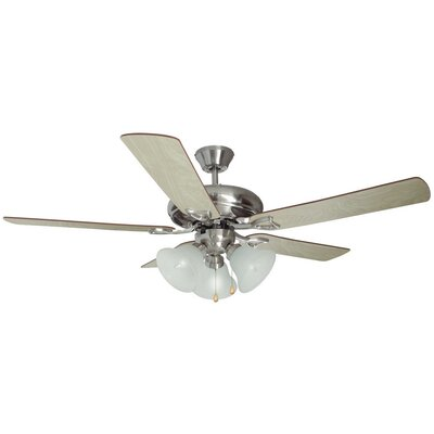 52 Bristol 5-Blade Ceiling Fan Finish: Satin Nickel with Redwood/Light Maple Blade